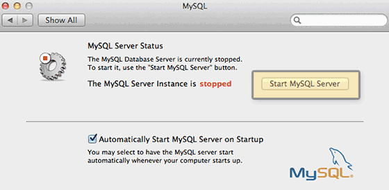start-mysql system preferences