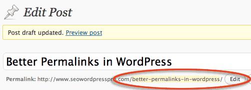 edit individual WordPress URL permalink