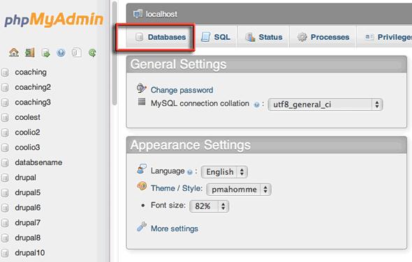 phpmyadmin-create-database