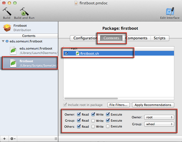 firstboot file permissions in packagemaker