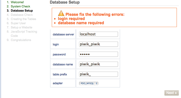 piwik-database-settings