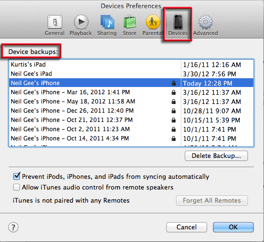 itunes devices backups