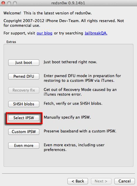 baseband-redsnow-select-ipsw