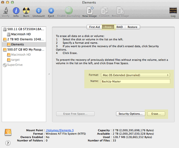 how to reformat mac os x 10.7