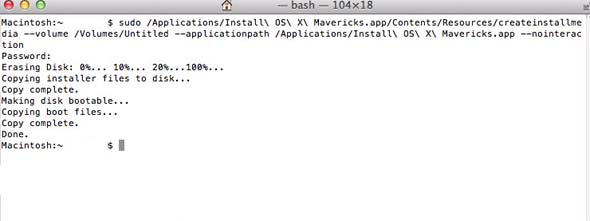 Making A Boot USB Disk of OSX 10 9 Mavericks via Terminal