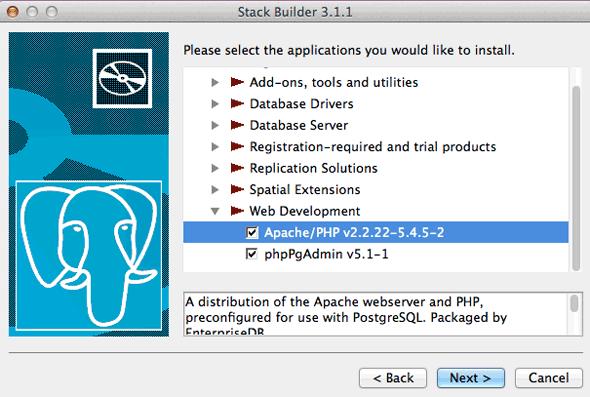 postgresql-stack-builder-options