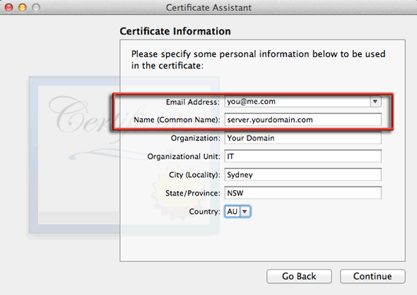 add email address for verification and hostname