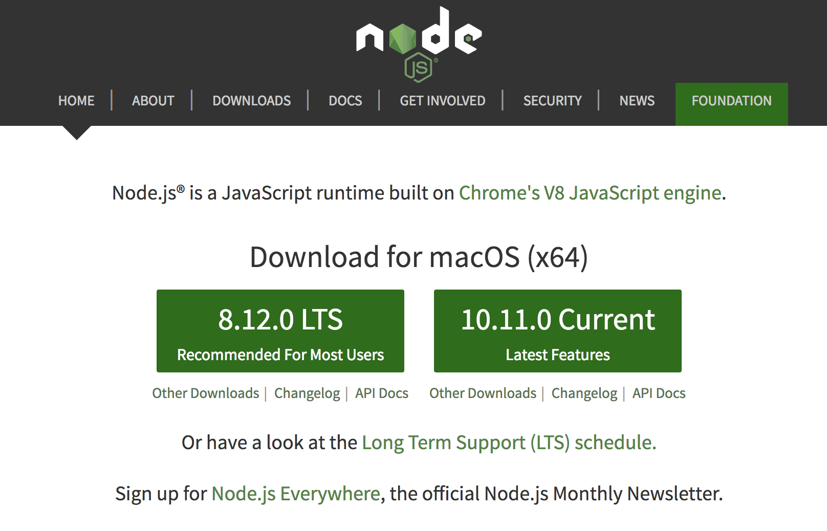 Installing node js on macOS Mojave, macOS Sierra and earlier OSX
