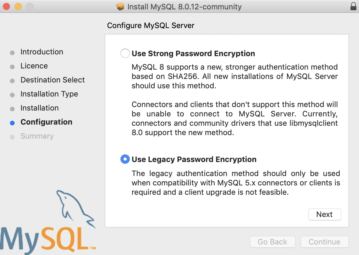 mojave mysql 8 legacy password